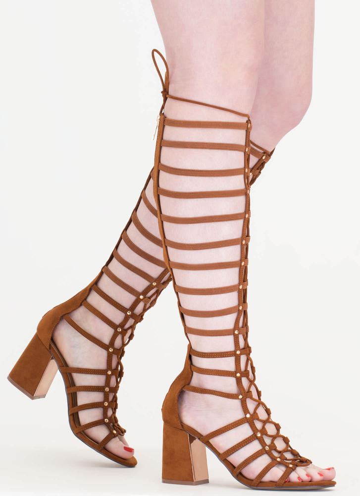 Strapping Stud Chunky Gladiator Heels CHESTNUT