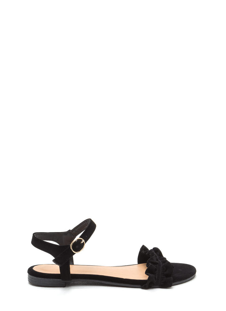 Sweet Atmosphere Strappy Ruffled Sandals BLACK