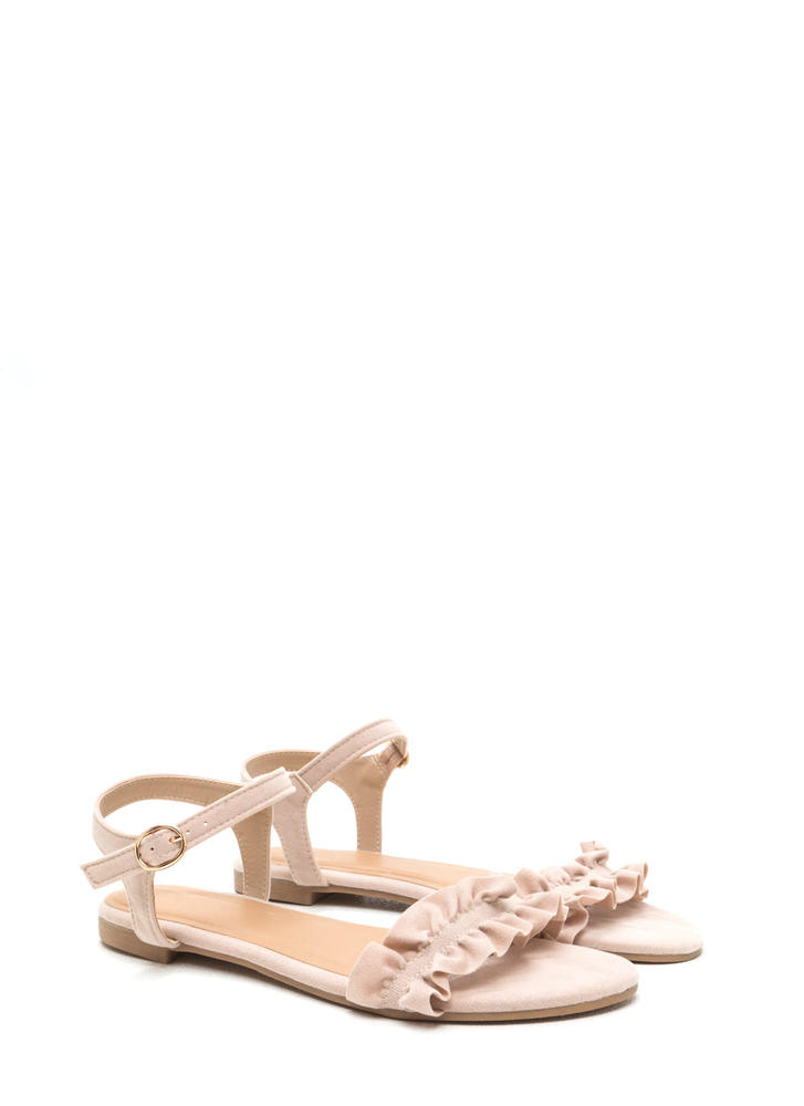 Sweet Atmosphere Strappy Ruffled Sandals NUDE