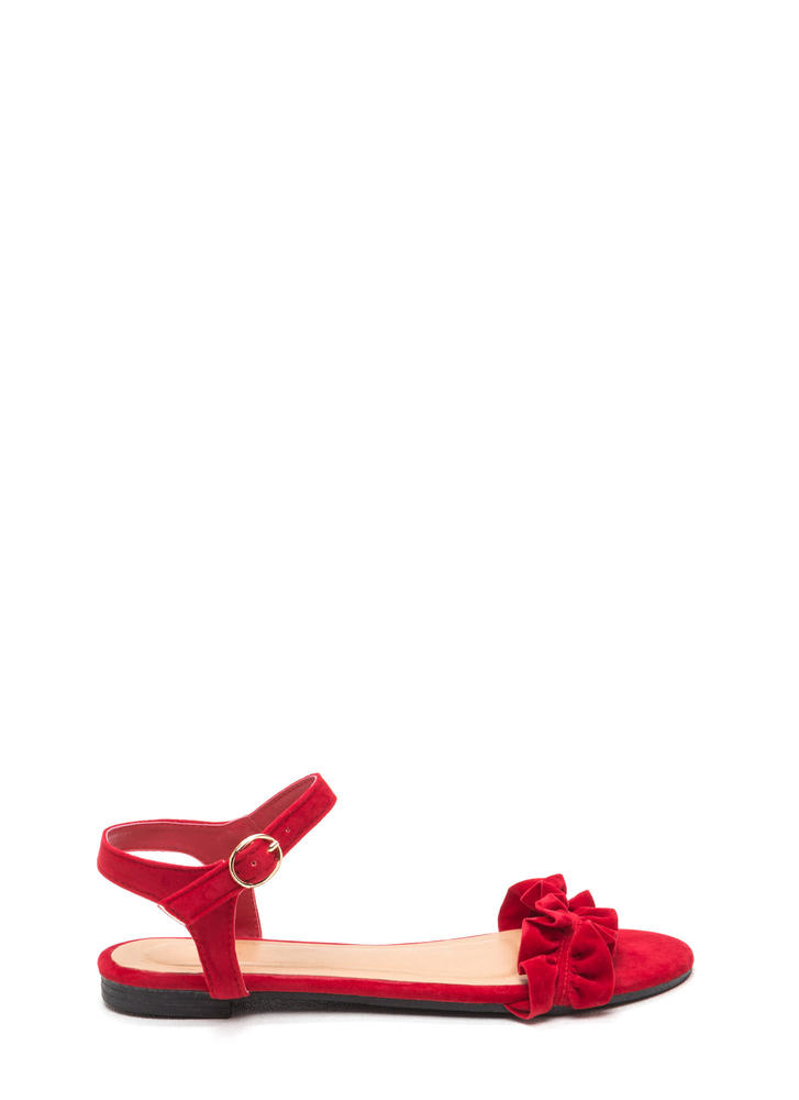 Sweet Atmosphere Strappy Ruffled Sandals RED