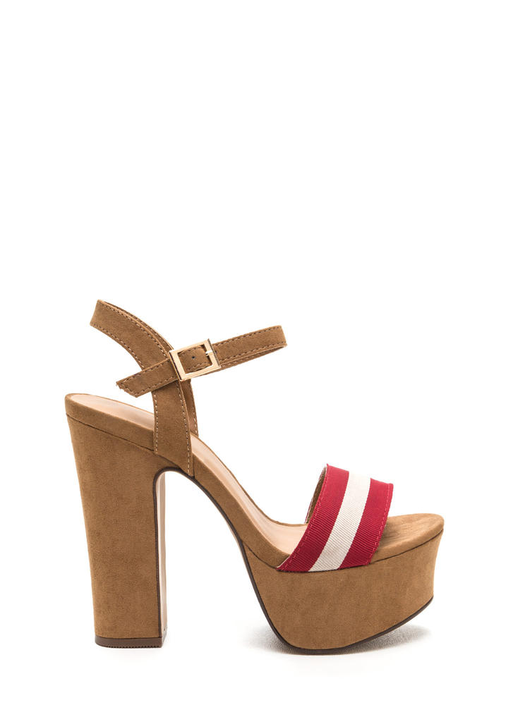 First Ribbon Striped Chunky Heels