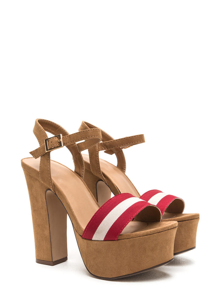 First Ribbon Striped Chunky Heels TAN NAVY - GoJane.com