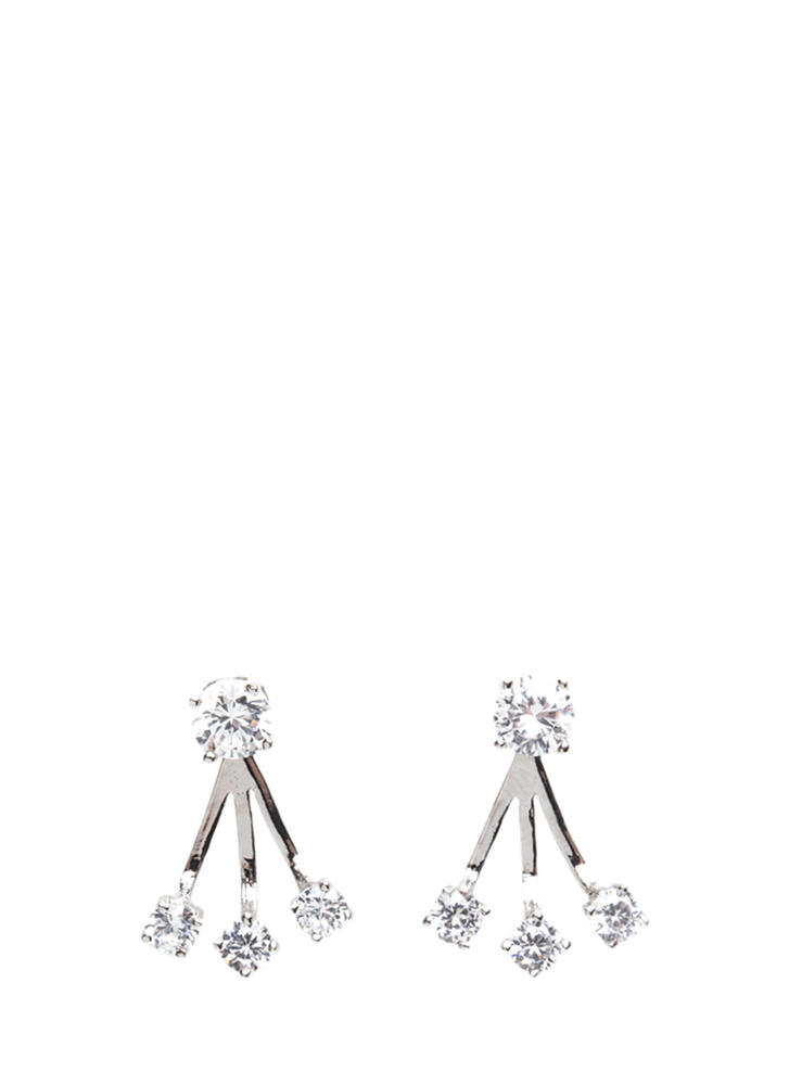 Sparkly Potential Faux Jewel Earrings SILVER