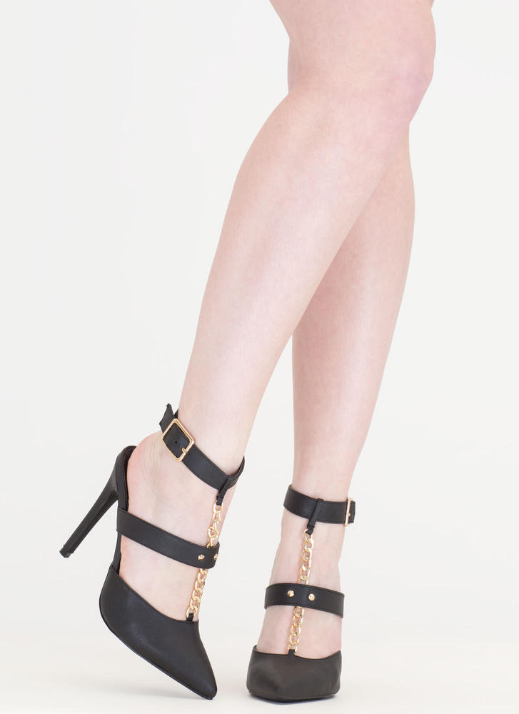 Main Chain Pointy T-Strap Heels BLACK