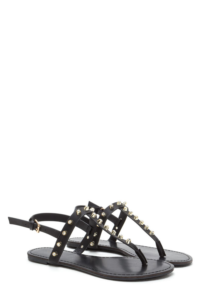 Light A Sparkler Studded T-Strap Sandals BLACK