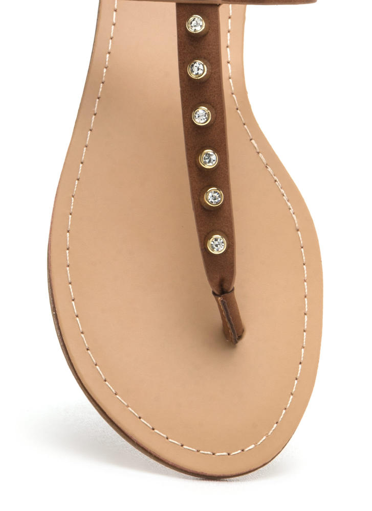 Light A Sparkler Studded T-Strap Sandals COGNAC