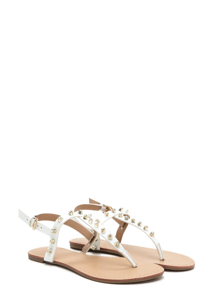 Light A Sparkler Studded T-Strap Sandals WHITE