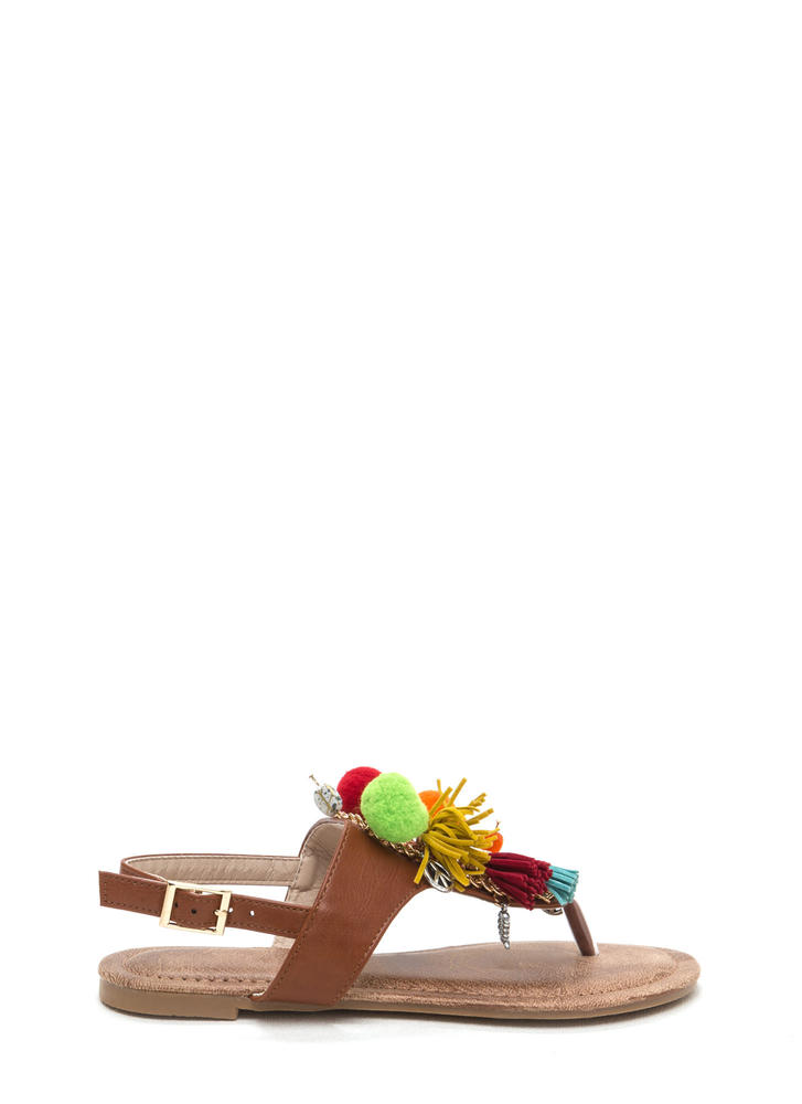By The Bay Tassel 'N Pom-Pom Sandals COGNAC