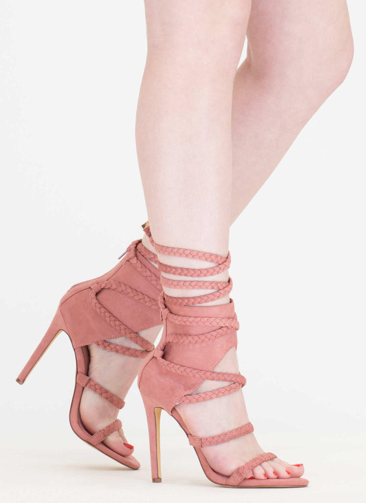 Braid Parade Strappy Lace-Up Heels DUSTYPINK