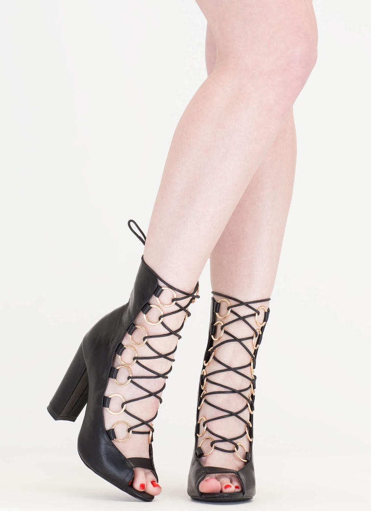 Ring Bearer Lace-Up Chunky Heels BLACK