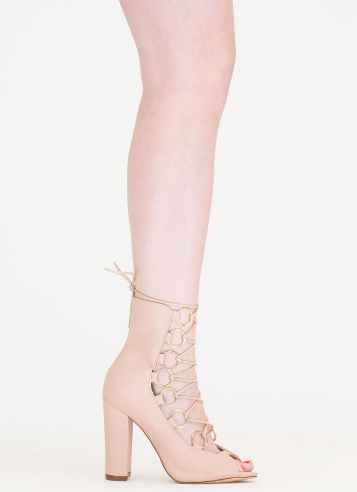 Ring Bearer Lace-Up Chunky Heels NUDE