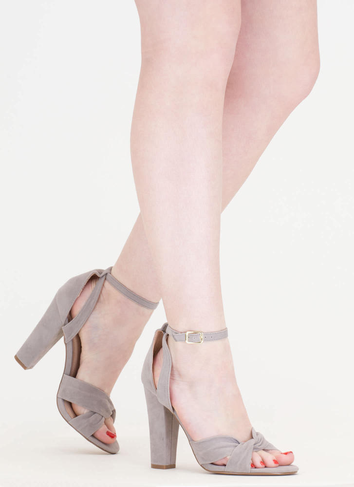 Knotty Idea Chunky Faux Suede Heels GREY