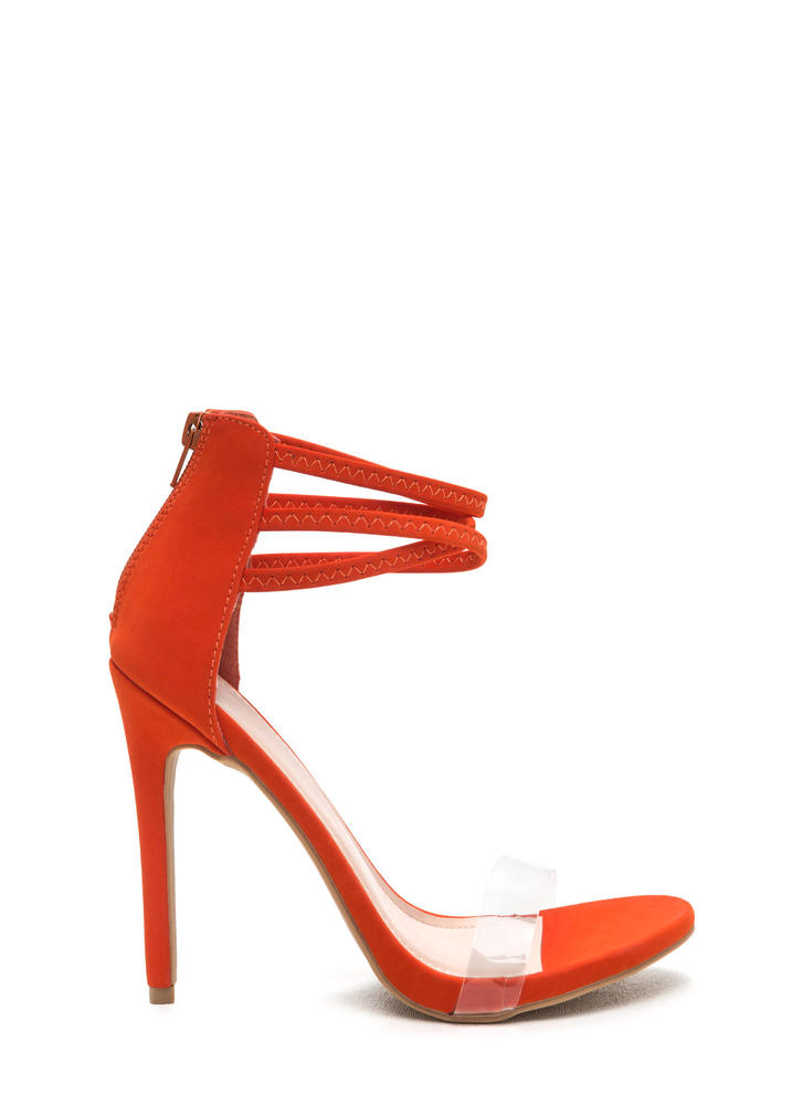 X Goddess Strappy Faux Nubuck Heels ORANGE