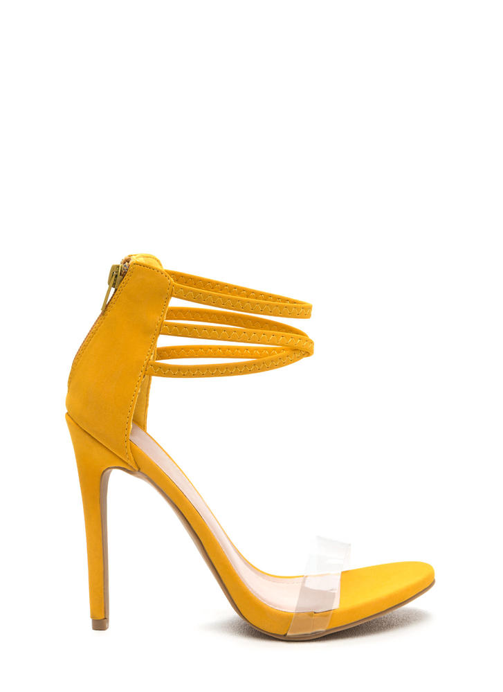 X Goddess Strappy Faux Nubuck Heels YELLOW