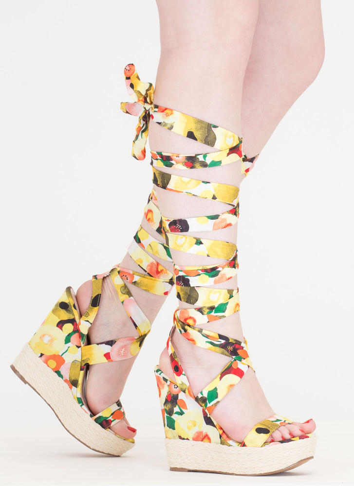 Flowers To Fruits Lace-Up Jute Wedges YELLOW