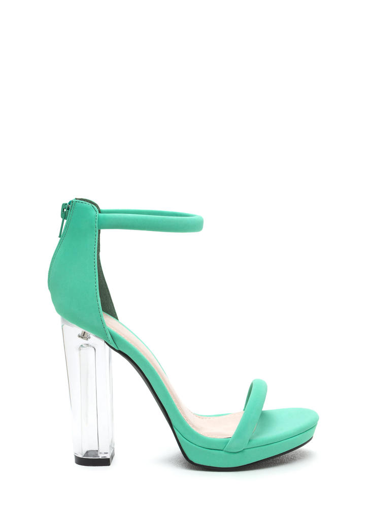 Beyond Clear Chunky Lucite Heels AQUA