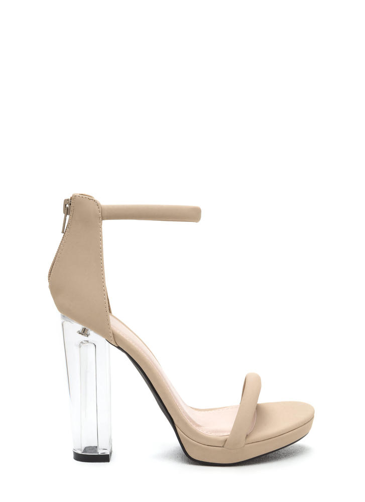 Beyond Clear Chunky Lucite Heels NUDE