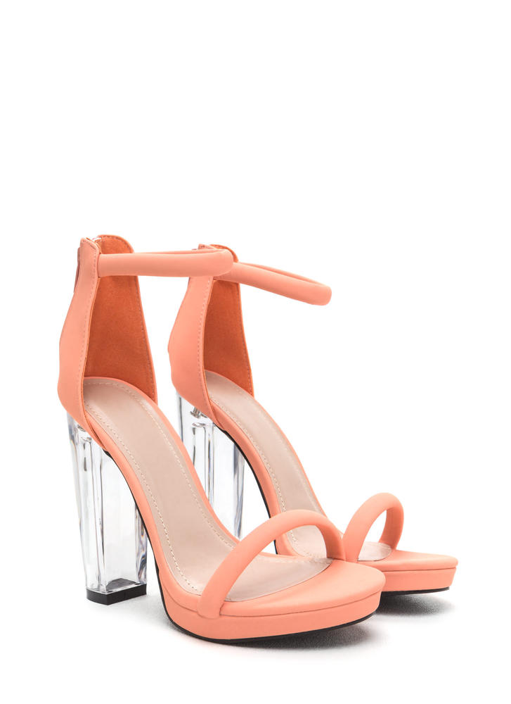 Beyond Clear Chunky Lucite Heels PEACH