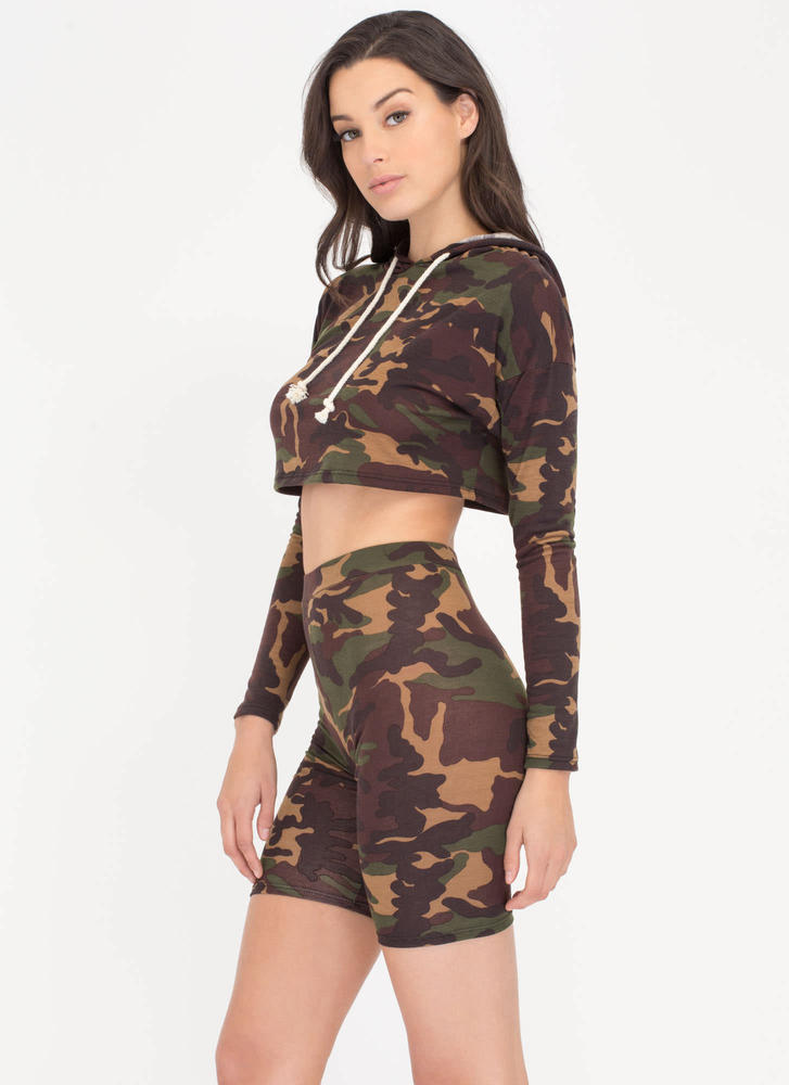 Blend Together Camo Top 'N Shorts Set CAMOUFLAGE