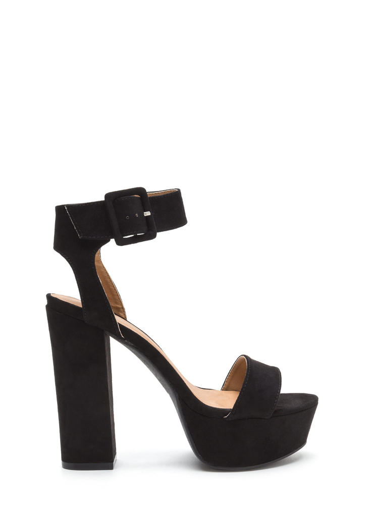 Stand Tall Chunky Ankle Strap Platforms BLACK