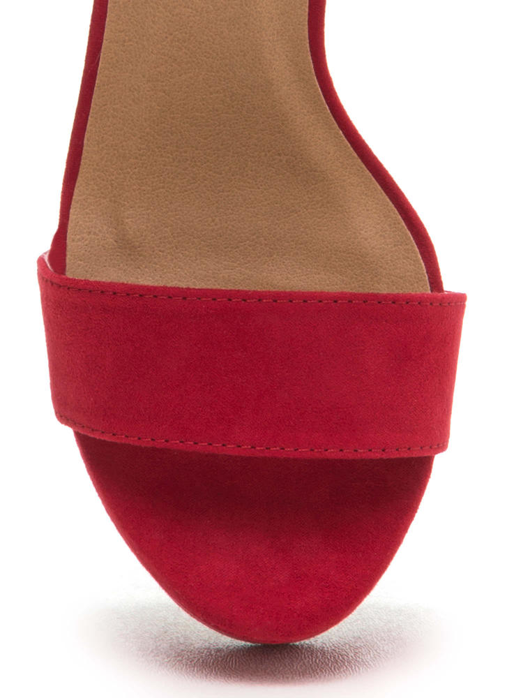 Stand Tall Chunky Ankle Strap Platforms RED