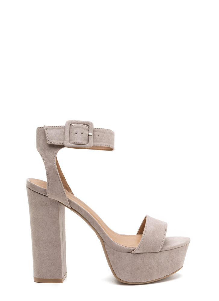 Stand Tall Chunky Ankle Strap Platforms TAUPE