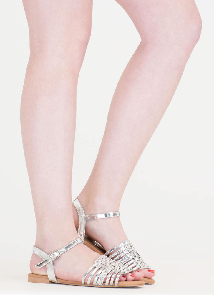 Shiny Strappy And New Braided Sandals SILVER