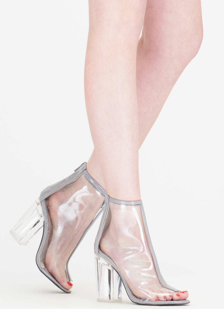 Clear Day Chunky Peep-Toe Booties