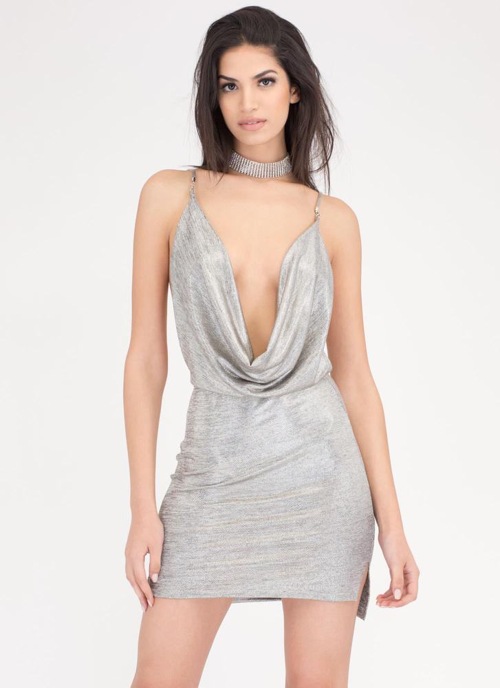 Chain Reaction Plunging Draped Dress SILVER