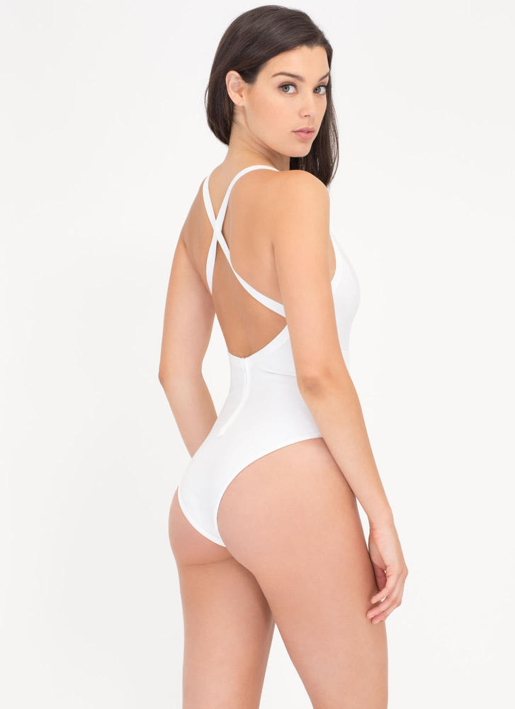 Dive In Diagonal Mesh Inset Bathing Suit WHITE (Final Sale)