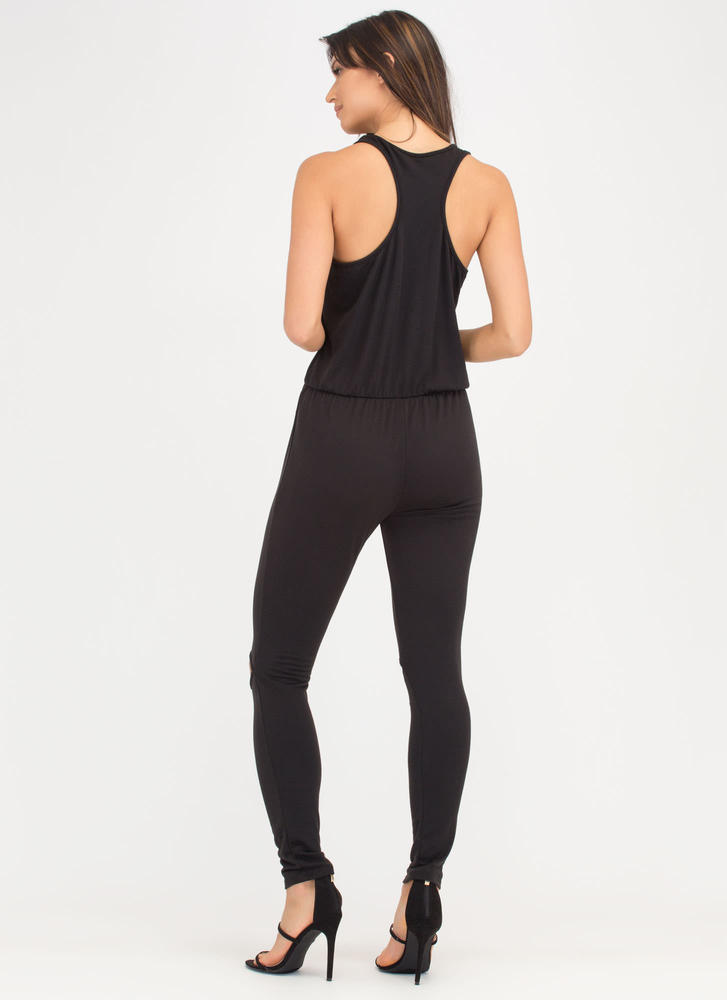 All Day Pick Cut-Out Racerback Jumpsuit BLACK