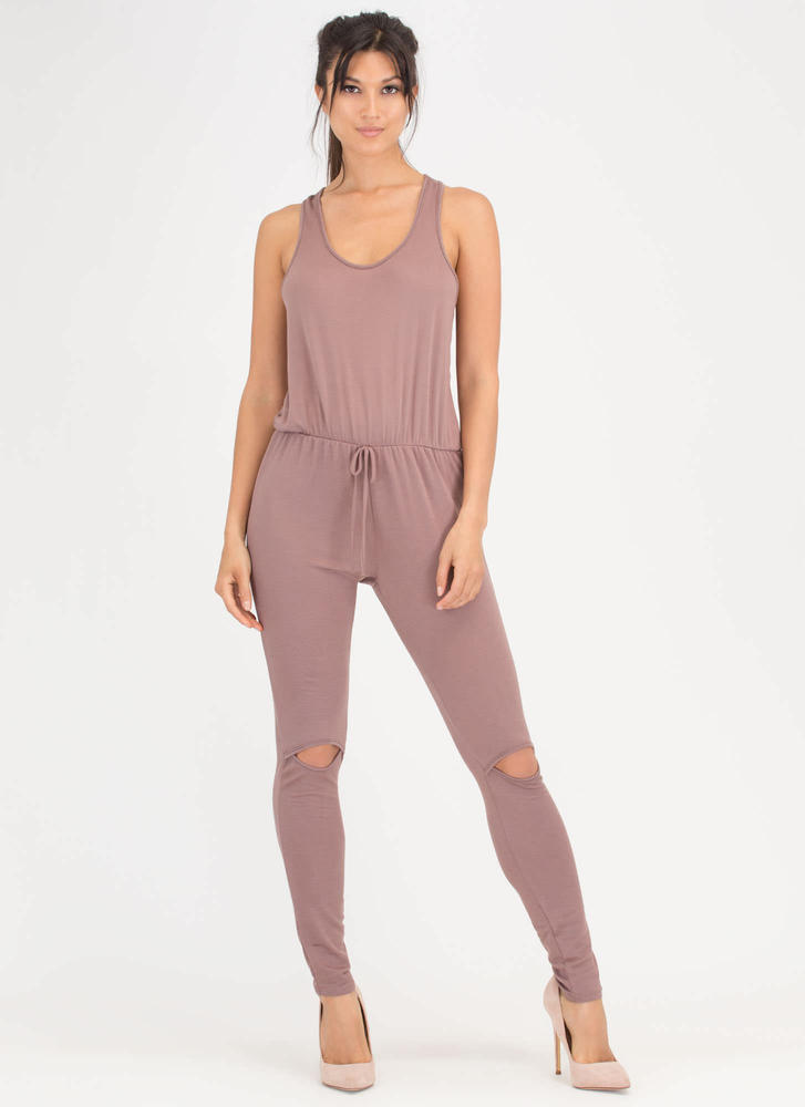 All Day Pick Cut-Out Racerback Jumpsuit MOCHA