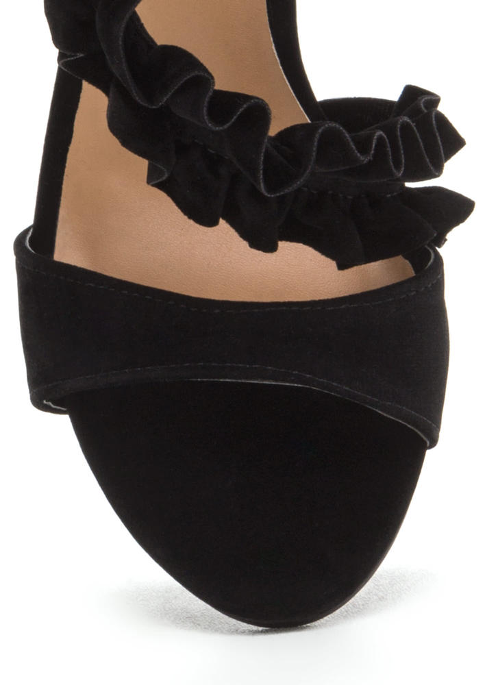 Evening Ruffles Strappy Faux Suede Heels BLACK