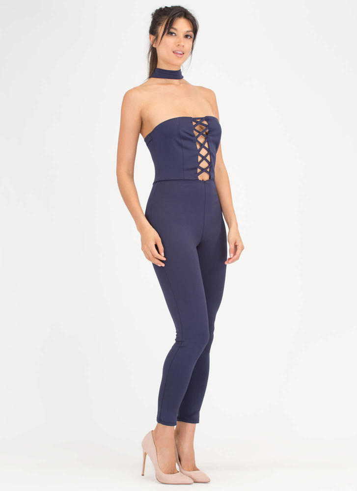 X-cellent Decision Choker Jumpsuit NAVY