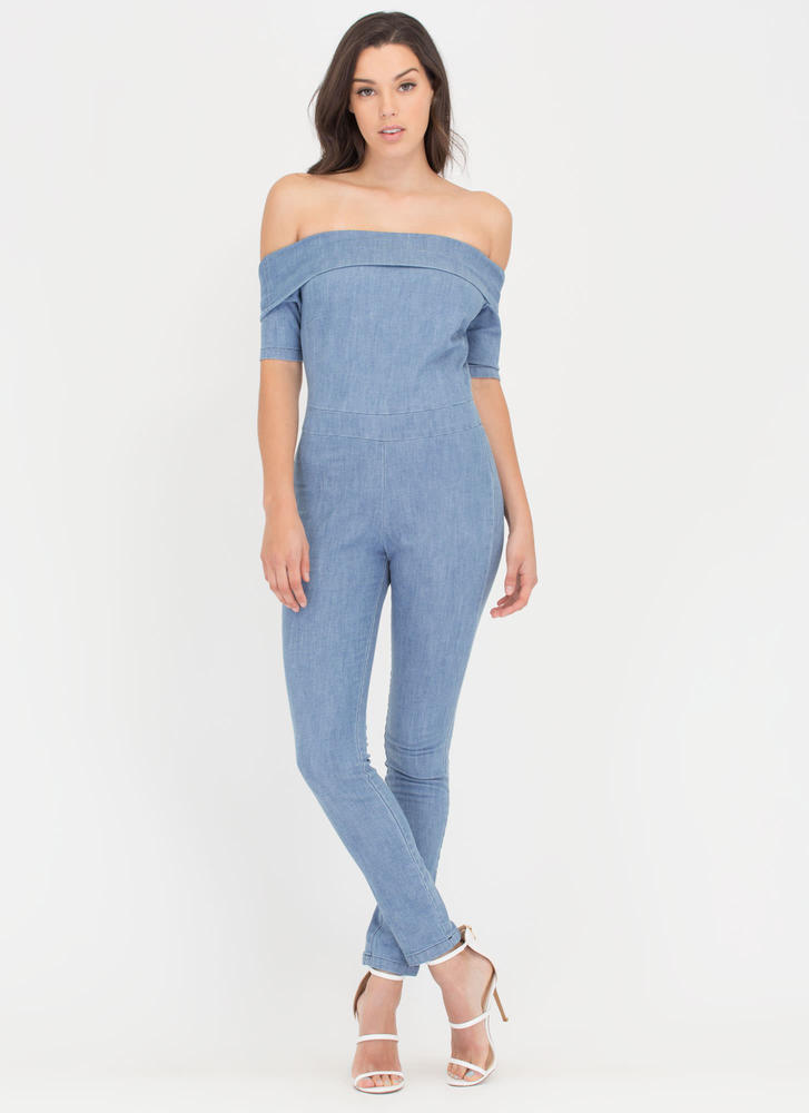 Paris Trip Denim Off-Shoulder Jumpsuit BLUE