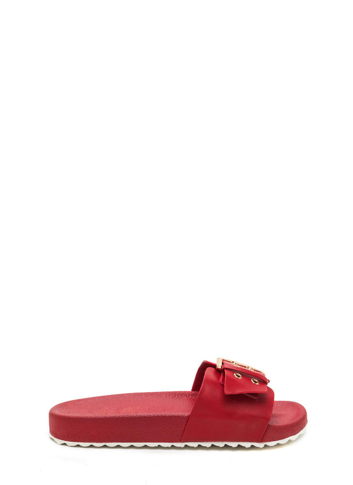 Buckle Down Faux Leather Slide Sandals