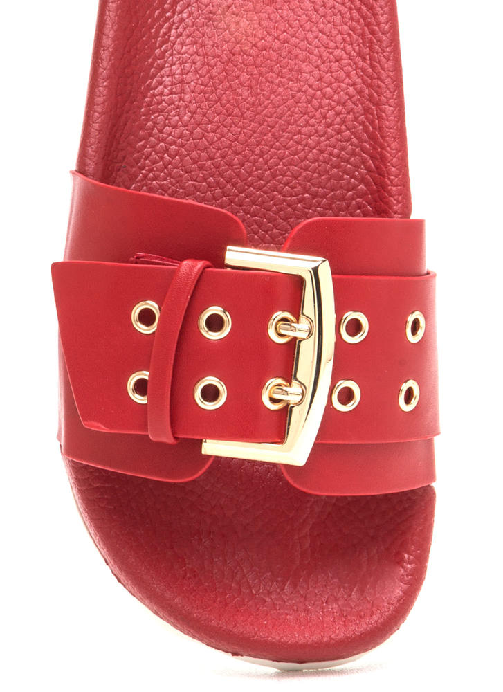 Buckle Down Faux Leather Slide Sandals RED