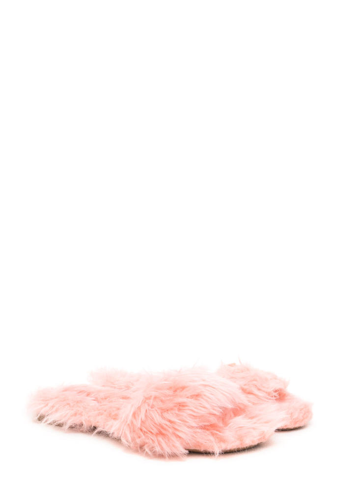 What's The Furry Faux Fur Slippers BLUSH