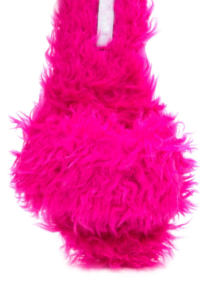 What's The Furry Faux Fur Slippers FUCHSIA