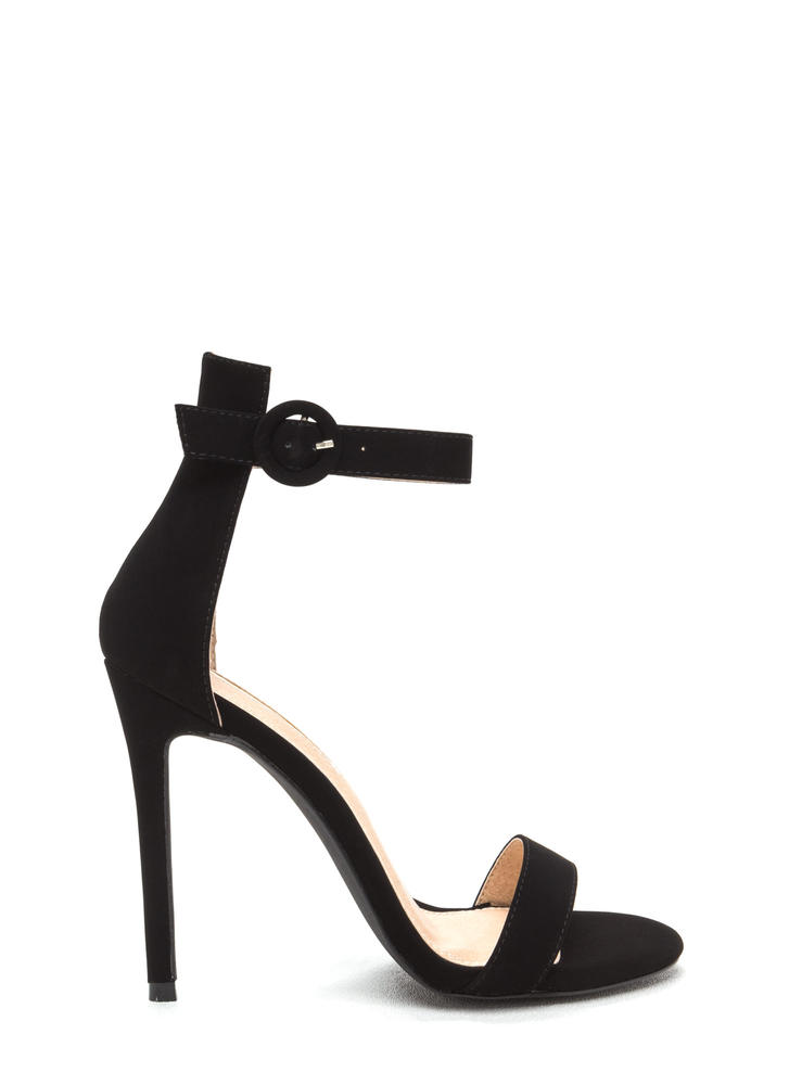 Chic Now Strappy Faux Nubuck Heels BLACK