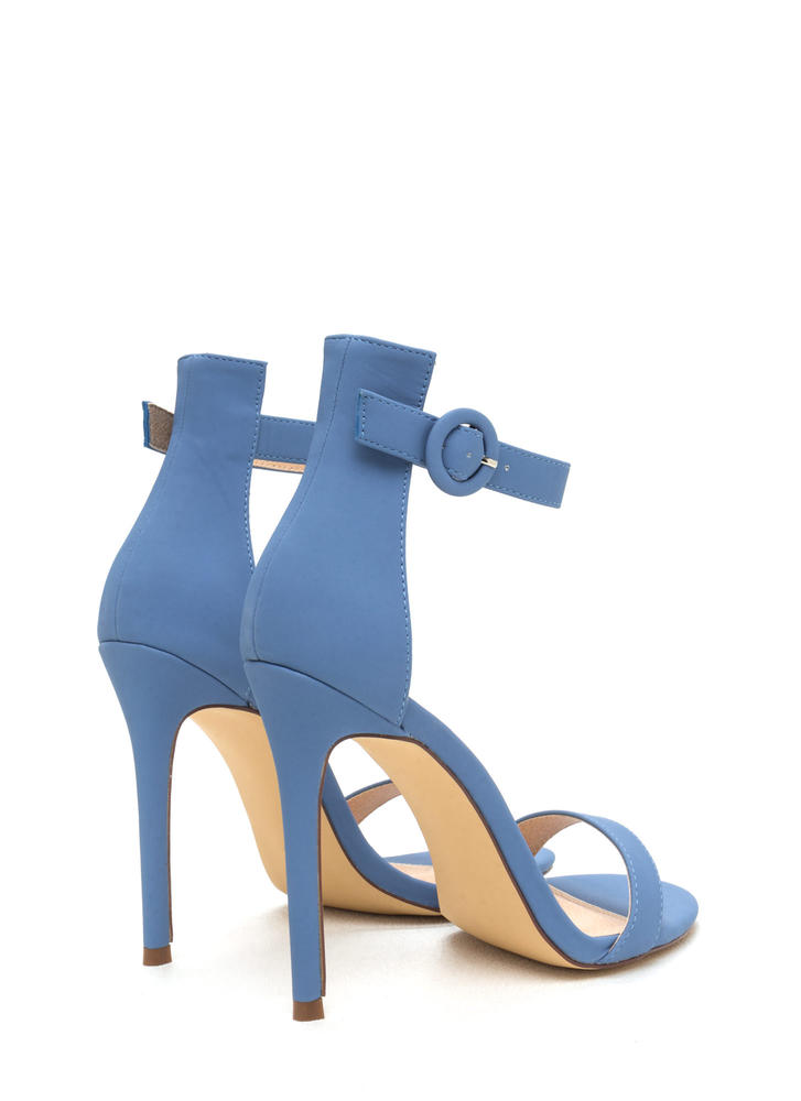 Chic Now Strappy Faux Nubuck Heels BLUE