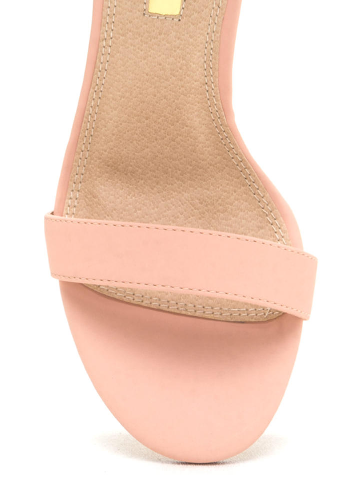 Chic Now Strappy Faux Nubuck Heels BLUSH