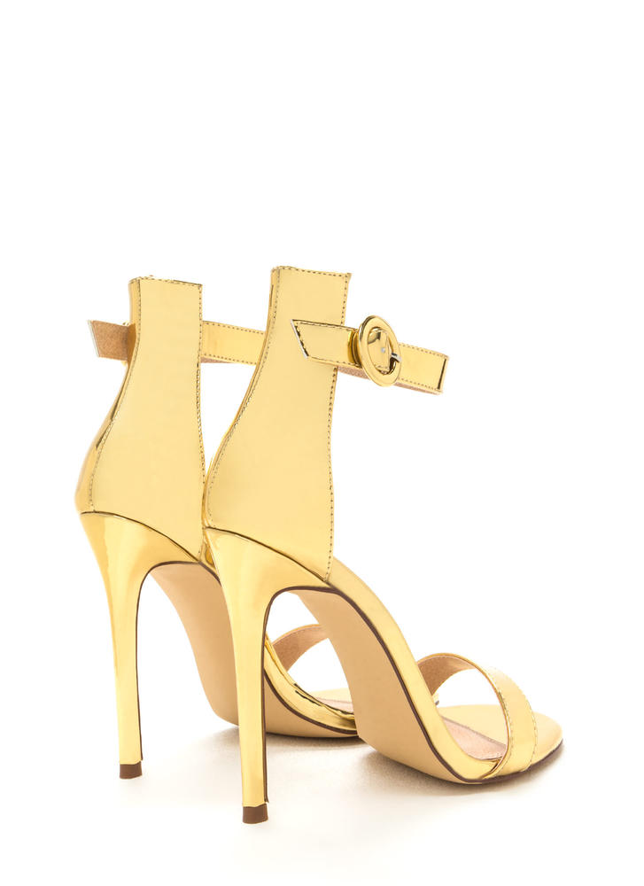 Chic Now Strappy Metallic Heels GOLD