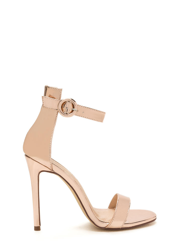 Chic Now Strappy Metallic Heels
