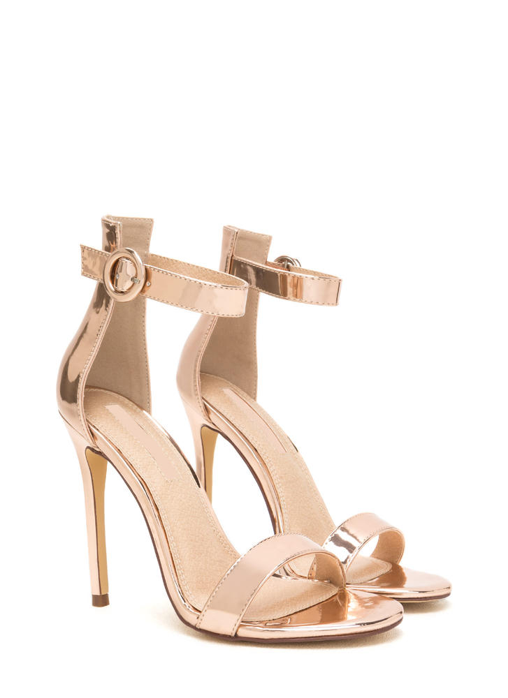 Chic Now Strappy Metallic Heels ROSEGOLD