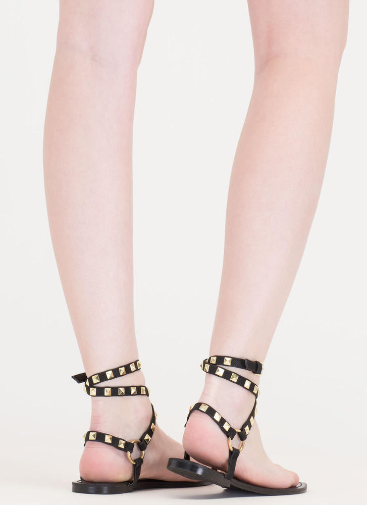 Ring Pop Wraparound Toe Strap Sandals BLACK