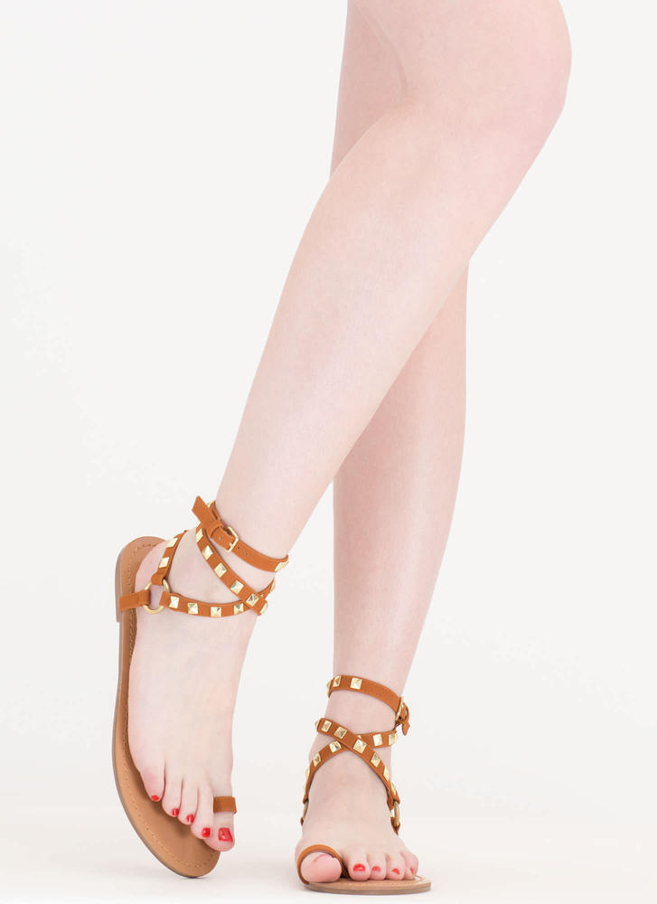 Ring Pop Wraparound Toe Strap Sandals COGNAC