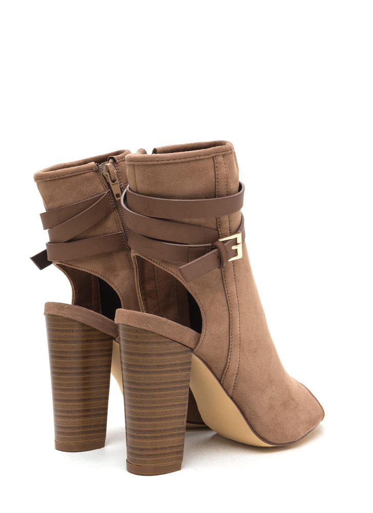 Let's Wrap Chunky Faux Suede Booties TAUPE