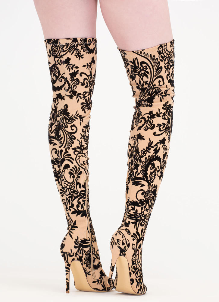 Floral Filigree Flocked Thigh-High Boots NUDE
