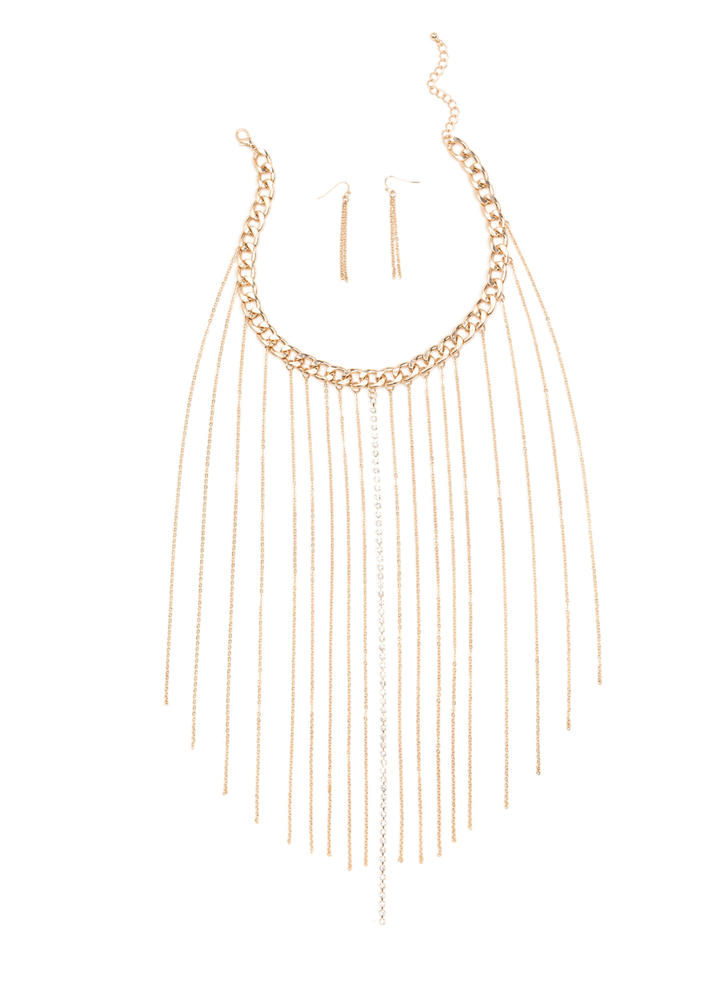 Final Curtain Chain Fringe Necklace Set GOLD